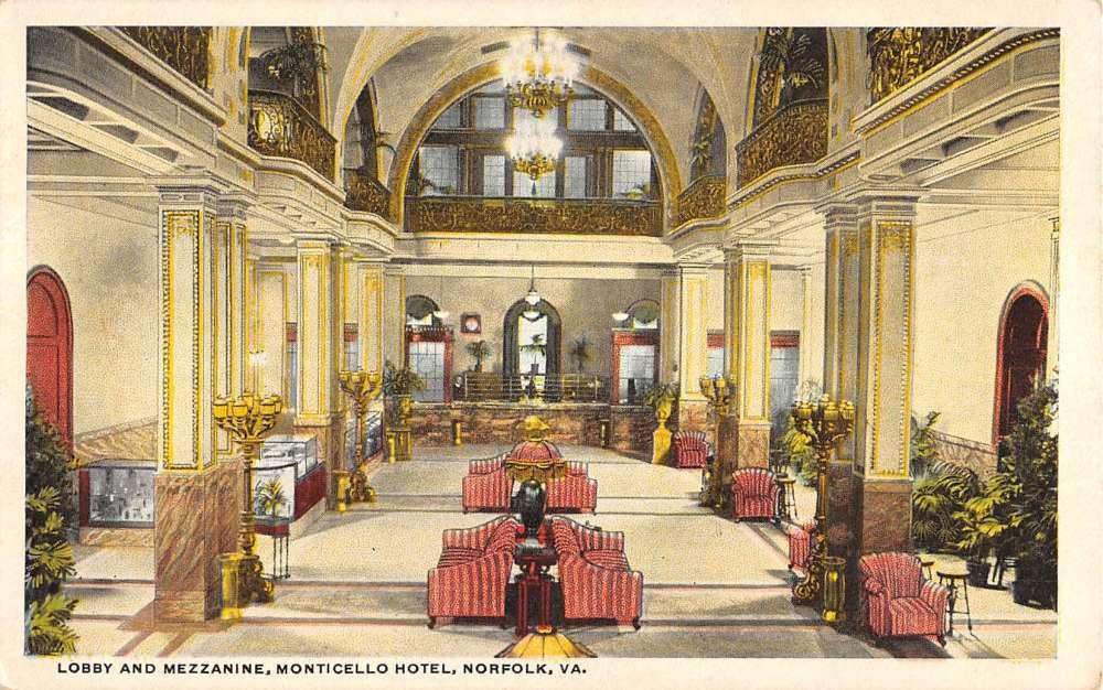 Norfolk Virginia Monticello Hotel Lobby Mezzanine Antique Postcard K22730