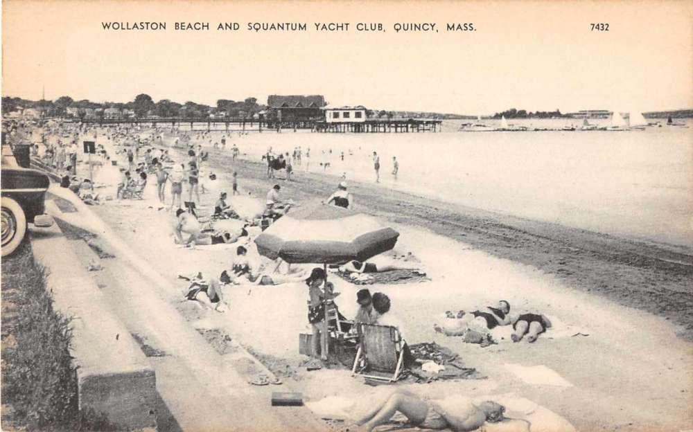 quincy massachusetts wollaston beach squantum yacht club postcard j54262