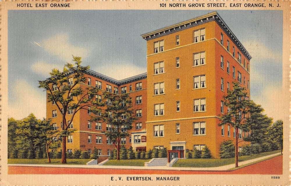 East Orange New Jersey Hotel Street View Linen Antique Postcard K39850