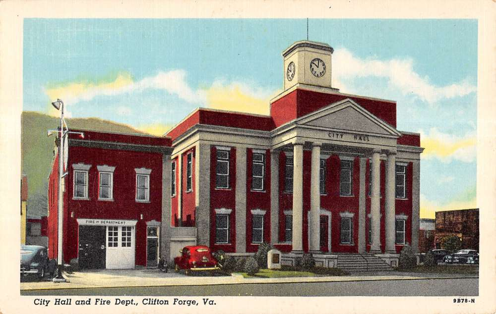 clifton forge virginia hall fire dept linen postcard antique postcards condition
