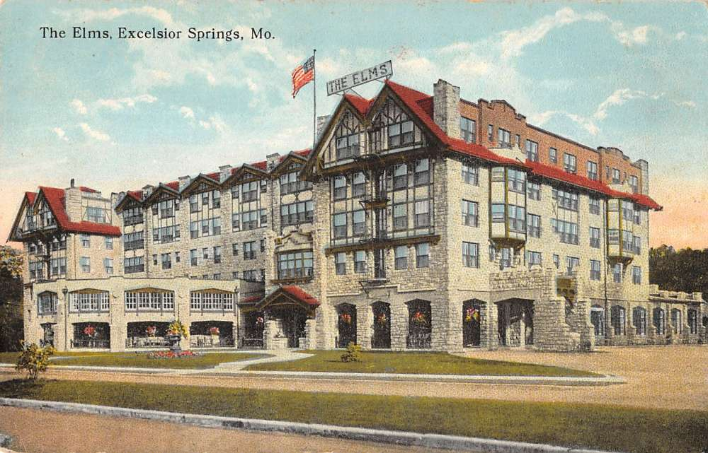1909 Excelsior Springs, MO Postcard SNAPPS HOTEL Street
