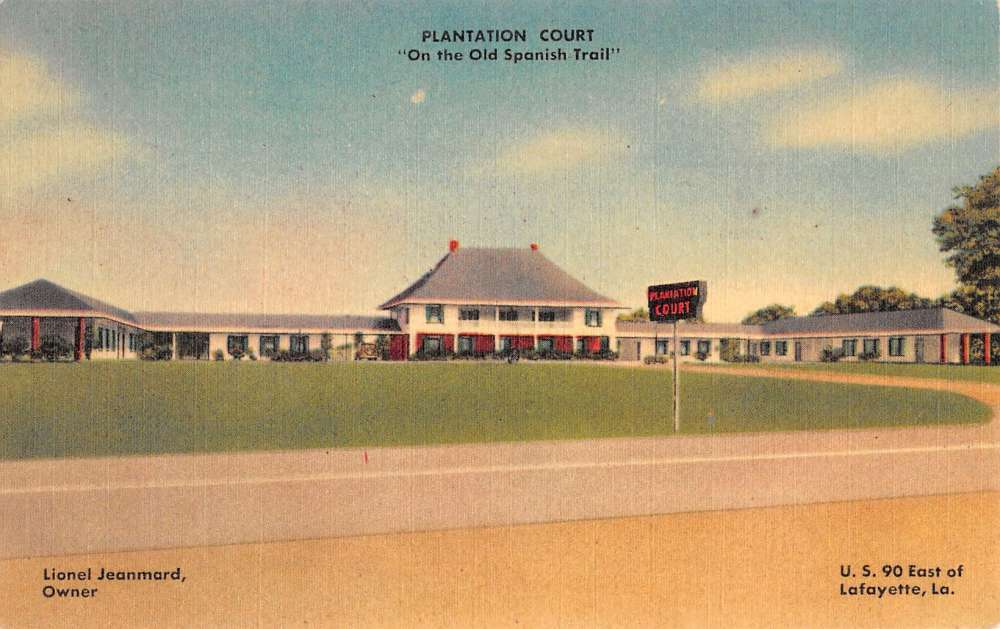 Lafayette Louisiana Plantation Court Street View Antique Postcard