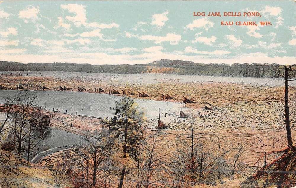 Postcard Log Jam, Dells Pond, Eau Claire WI 1909 D37   eBay