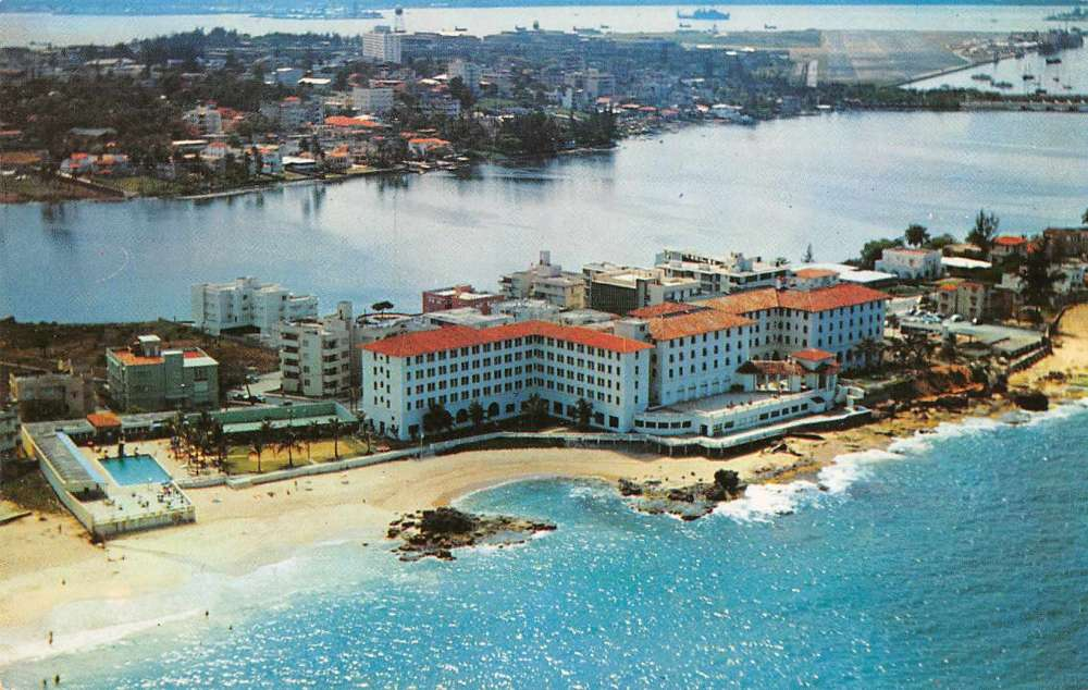 San Juan Puerto Rico Aerial View Condado Beach Hotel Vintage Pc Z28754