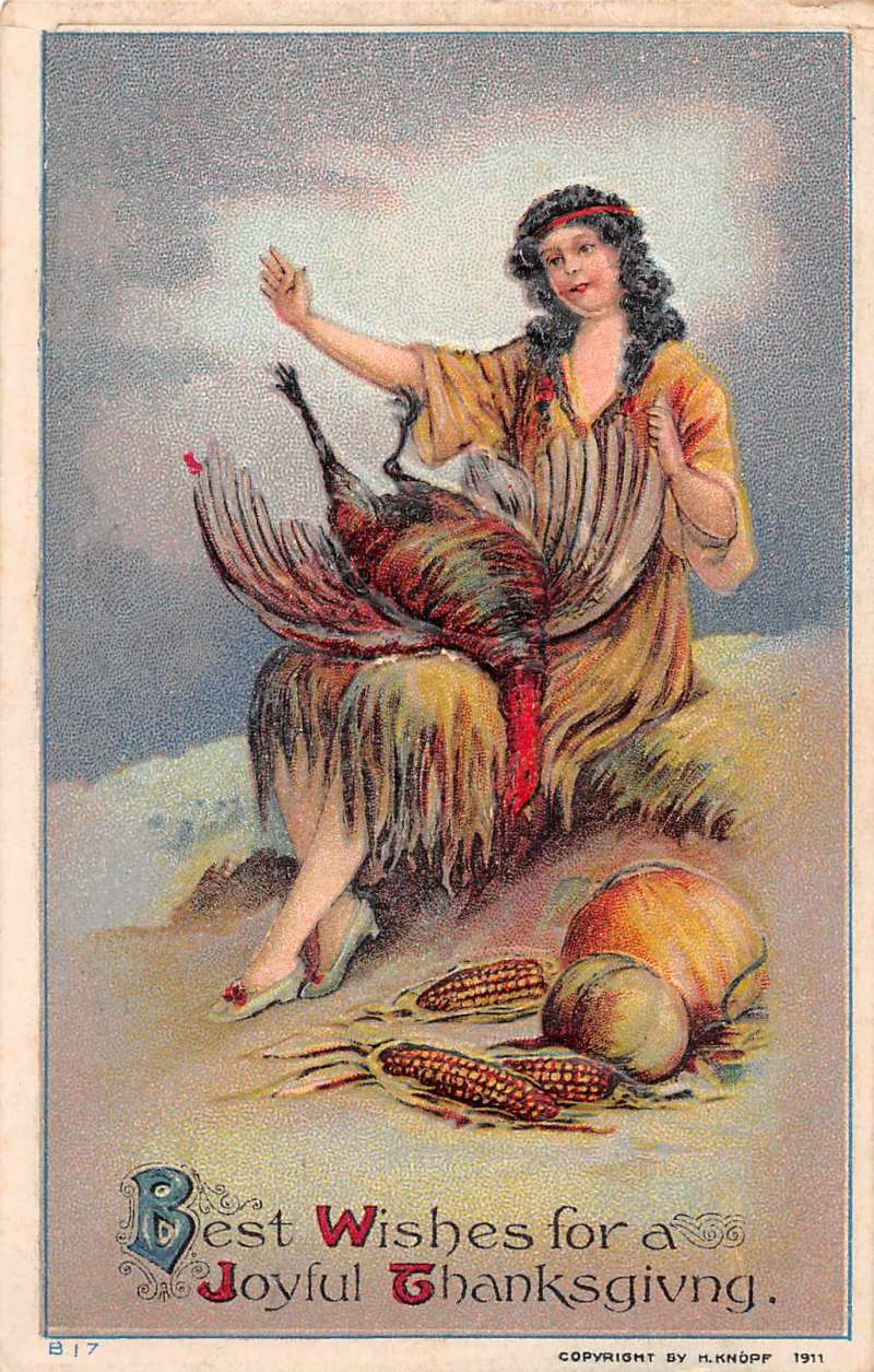 Thanksgiving Greetings Native American Indian With Turkey Postcard