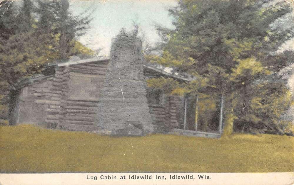 Log Cabin Street View Antique Postcard