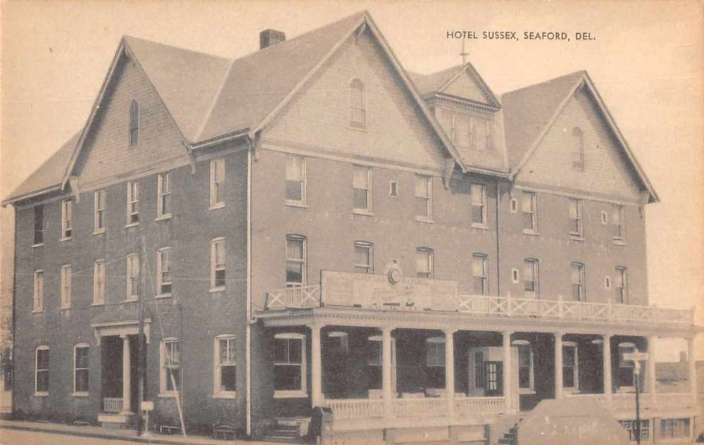 Seaford Delaware Birds Eye View Hotel Sus Antique Pc Z41402