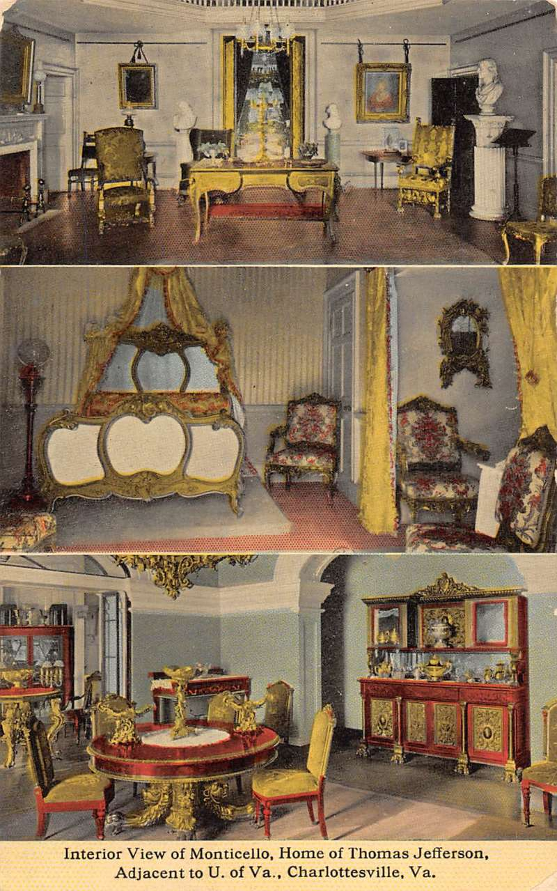 Details about Charlottesville Virginia Monticello Room Multiview Antique  Postcard K81437