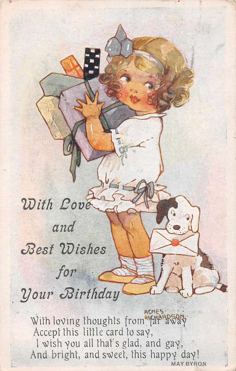 Birthday Greetings Girl With Presents And Dog Artist Signed Postcard