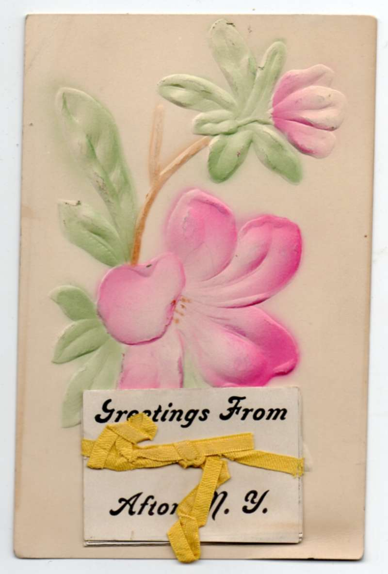 Afton New York Greetings From Fold Out Airbrushed Embossed Postcard