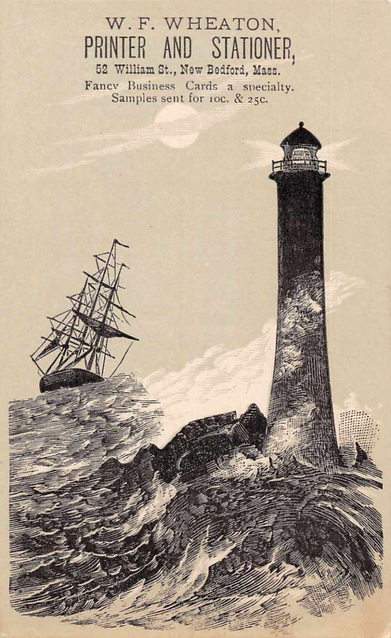 New Bedford Massachusetts Printer and Stationer Ad Lighthouse Trade ...