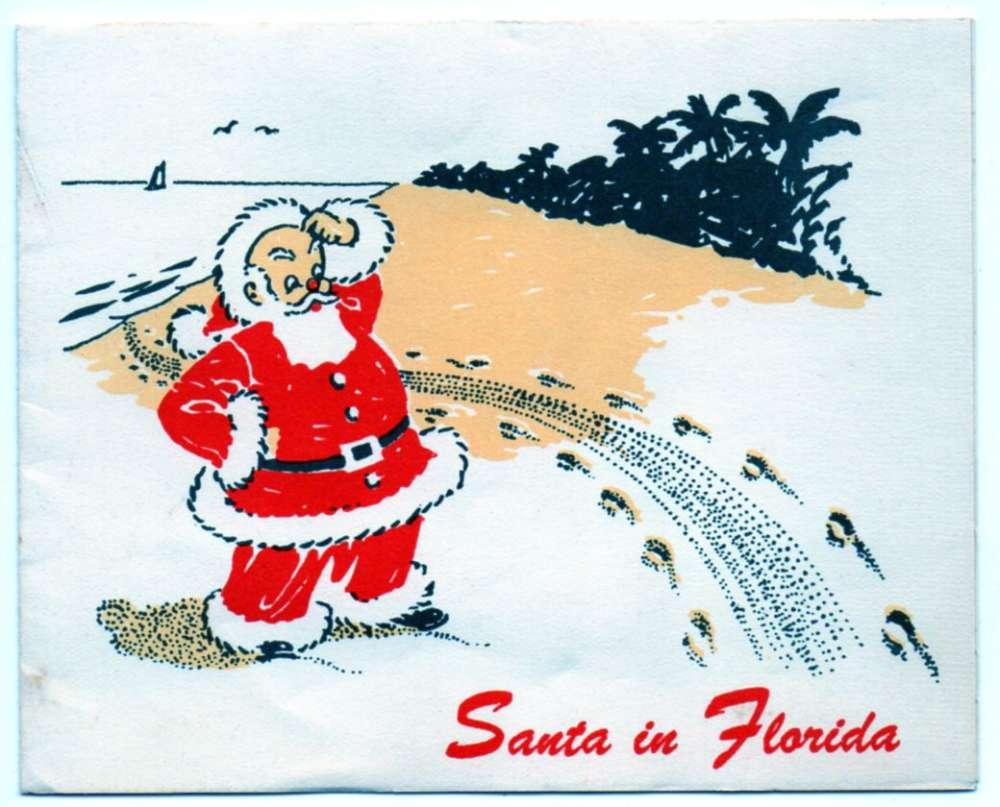 Christmas Santa In Florida Santa Claus On Beach Vintage Greeting