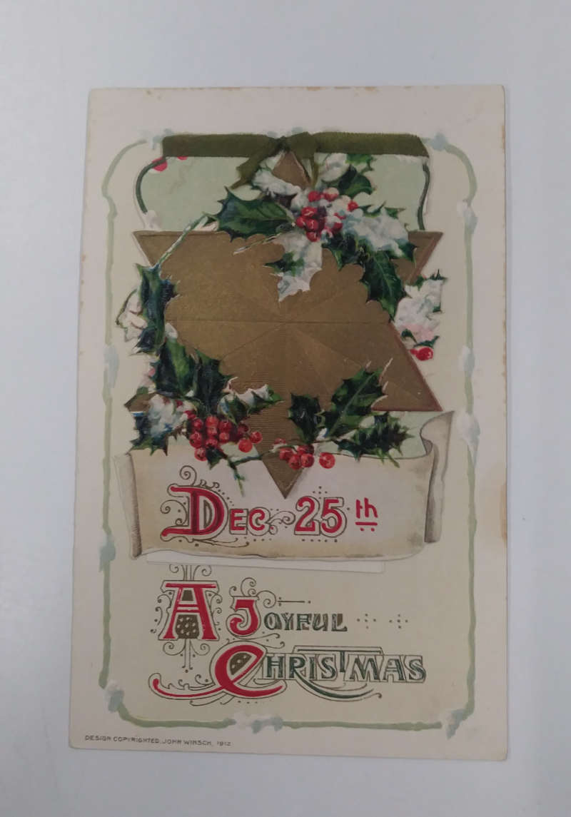 Christmas Greetings Star Holly Leaves Fold Out Booklet Winsch