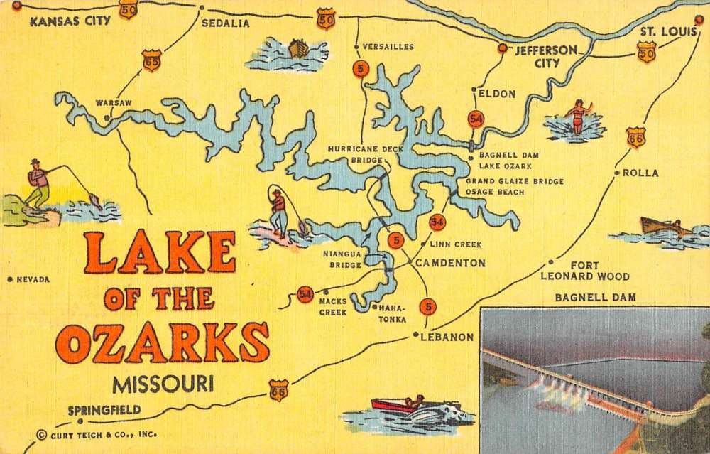 Lake Of The Ozarks Missouri Map View Linen Antique Postcard K88380