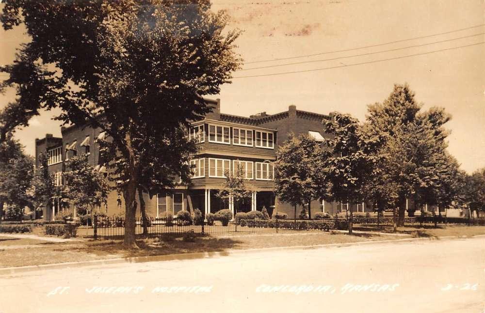 Concordia, Kansas Postcard ST. JOSEPHS HOSPITAL Street